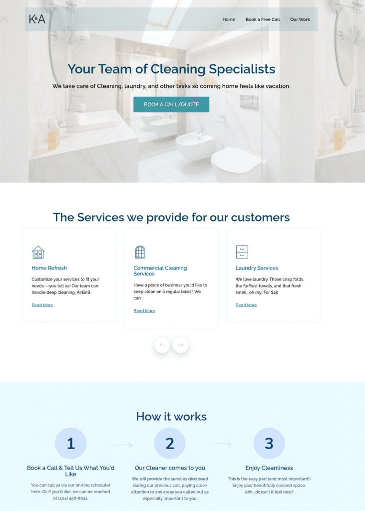 website development for a cleaning agency